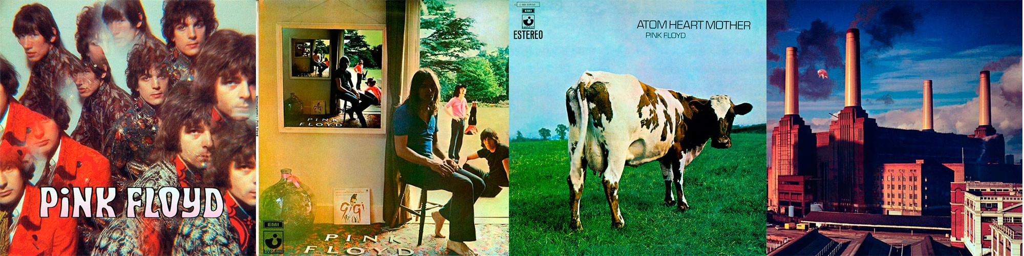 1967 Pink_Floyd The Piper At The Gates Of Dawn, 1969 Ummagumma, 1970 Atom Heart Mother y 1977 Animals
